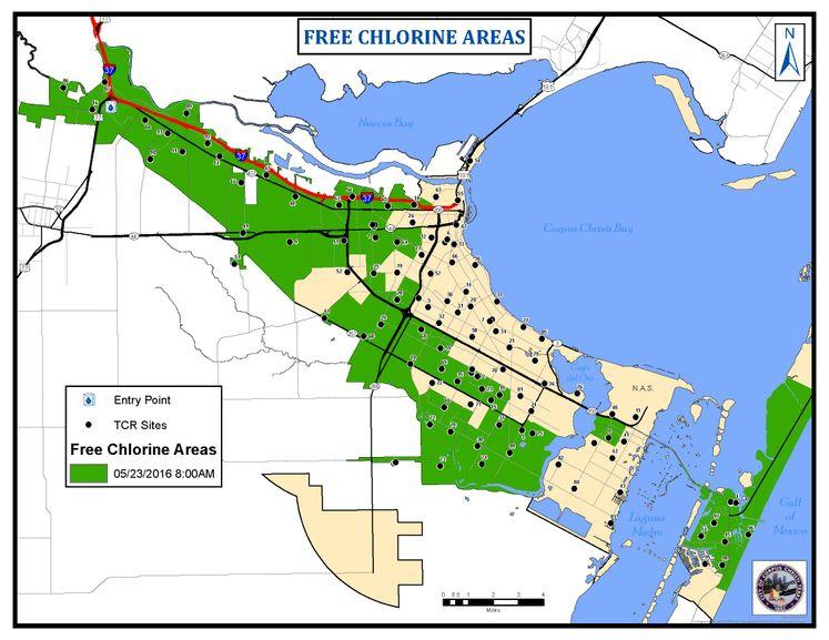 Free Chlorine Progression Map 8am 5-23-16