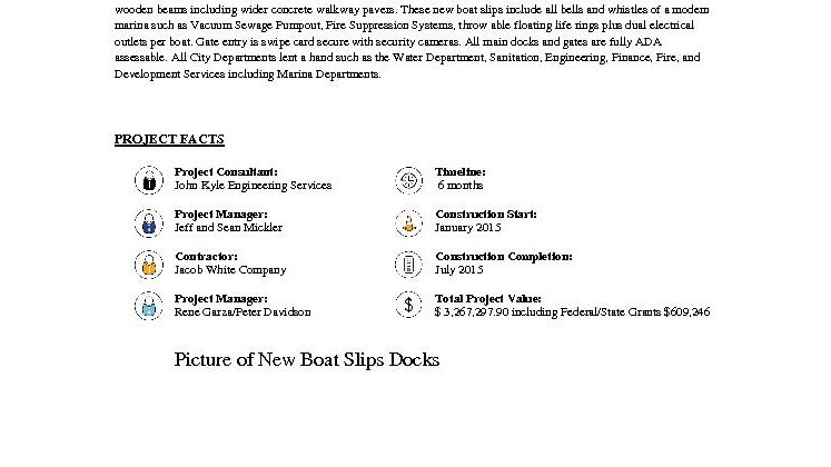 New Boat Slip Docks Fact Sheet
