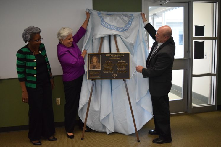 City Officials Unveil Mary Rhodes Pipeline Phase II Plaque