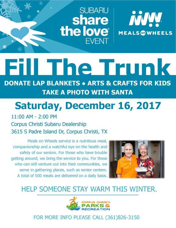 Corpus Christi Subaru >> Fill The Trunk Event Benefits Meals On Wheels Program City Of