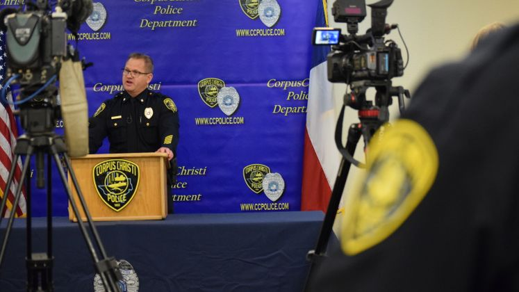 CCPD's Cmdr. D. Blackmon at a Spring Break Presser