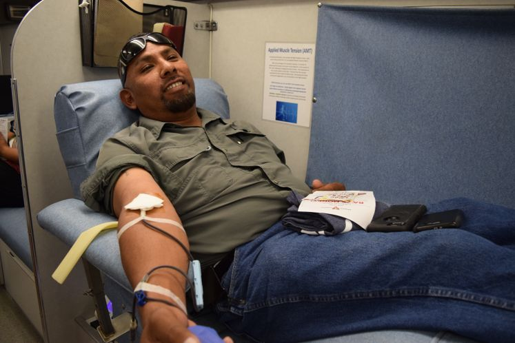 Utilities Employee H. Anguiano Donates Blood to CBBB