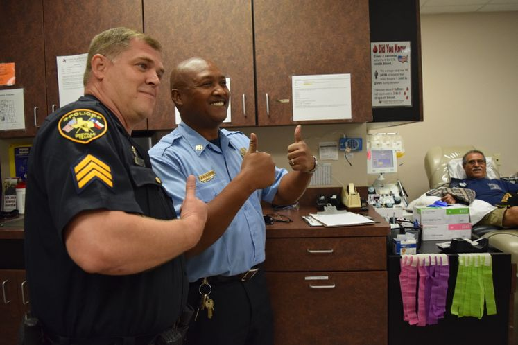 CCFD Capt. J. Brown along with BPD Sgt. G. Baron Supporting Blood Donation Event