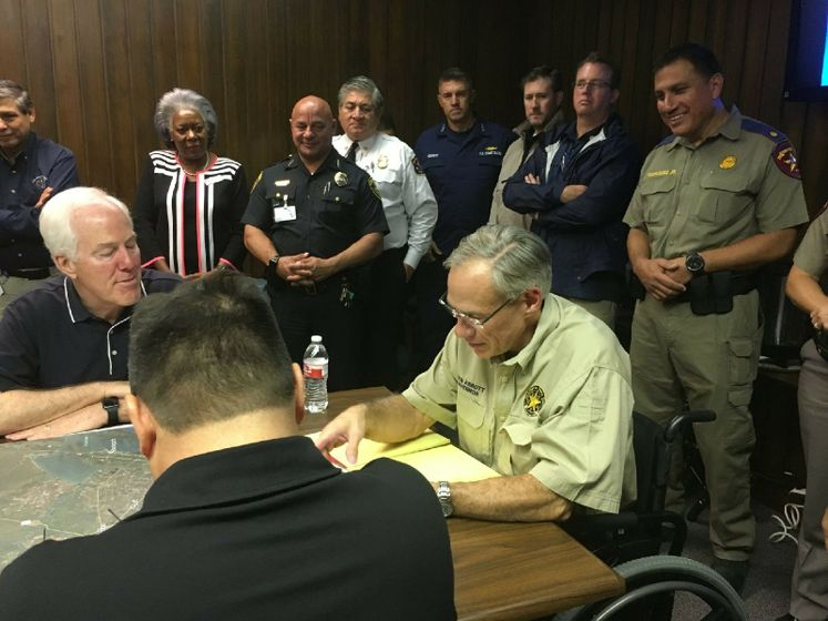 Texas Governor Greg Abbott Meets with Senator John Cornyn, State, Federal and local Officials to Discuss Harvey Response Efforts