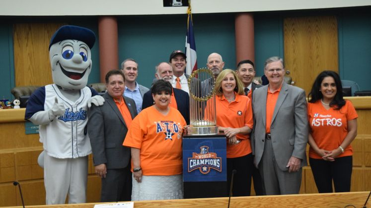 Astros Trophy at City Hall