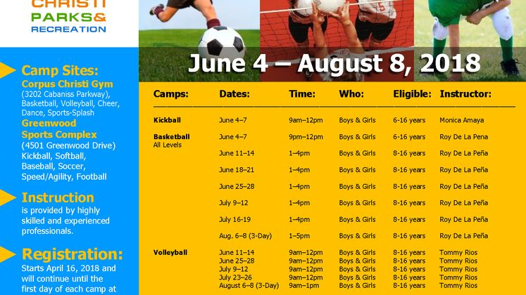 2018-Summer-Youth Sports Camps