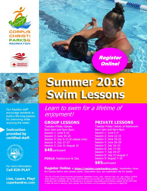 Swim Lessons Summer 2018 flyer