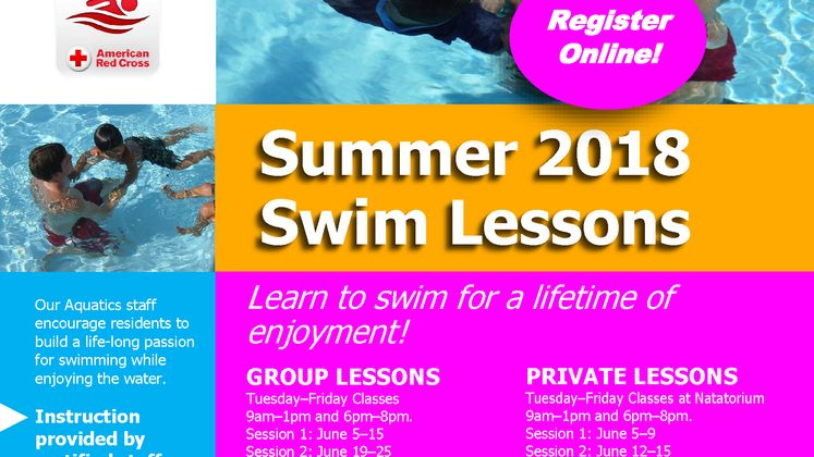Swim Lessons Summer 2018 flyer