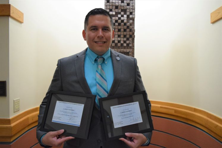 """Assistant Director for Water Quality and Treatment Gabriel Ramirez earns a Double """"A"""" license for Water and Wastewater Treatment."""