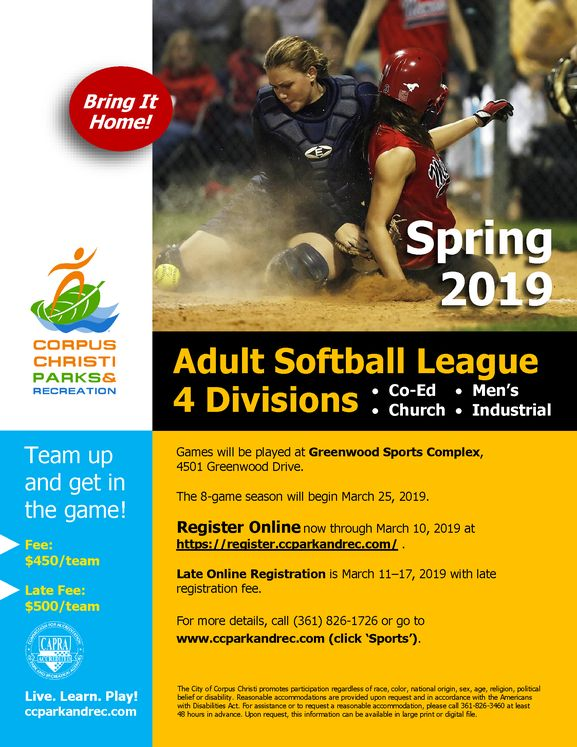 2019 Adult Softball Flyer