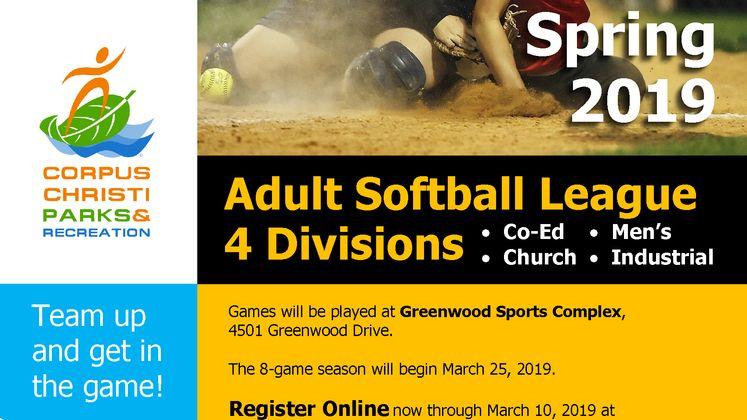2019 Adult Softball Flyer