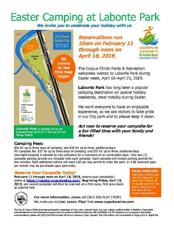 Easter Camping at Labonte Park flyer