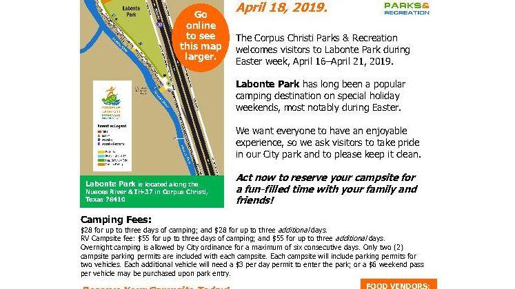 Easter Camping at Labonte Park flyer