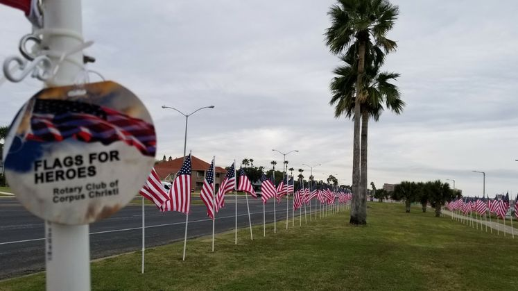 Flags for Heroes Display Along Ocean Drive