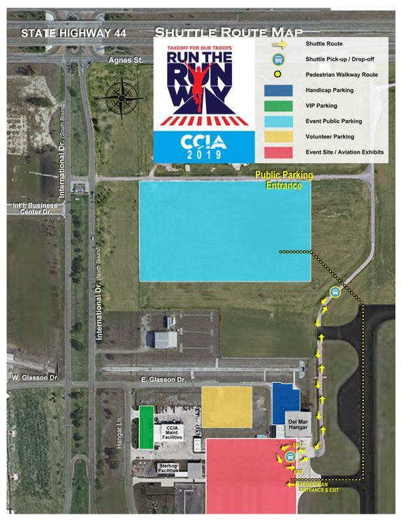 Run the Runway Parking _ shuttle Map-2019