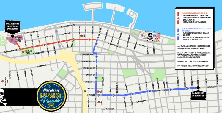 Buc Days 2019 Navy Army Night Parade Route