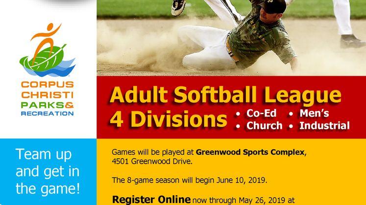 Adult Solftball Leagues 2019 Flyer