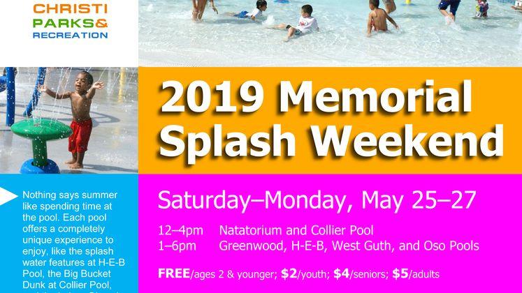 2019 Memorial Splash Weekend Flyer