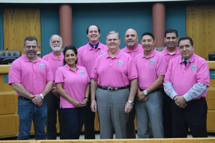 Council Members Sport Pink Shirts in Support of Breast Cancer Awareness