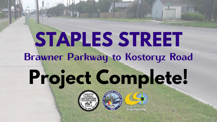 Staples Street Project Complete Graphic