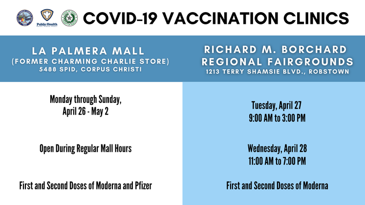 Copy of Graphic 4-23-21 Next Week COVID Vaccine Sites for Social Media 1