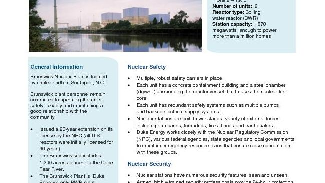 Brunswick Nuclear Plant Fact Sheet