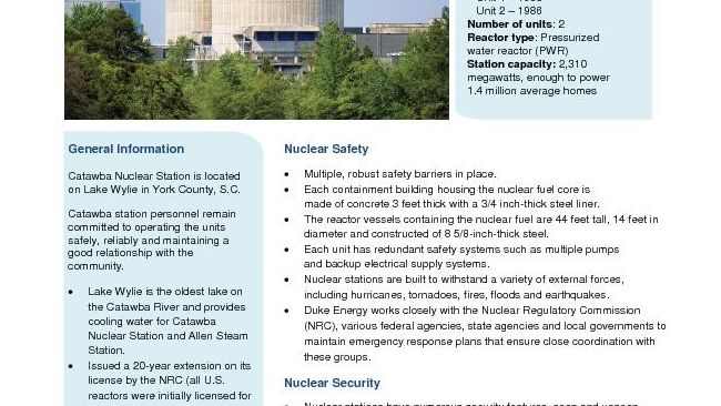 Catawba Nuclear Station Fact Sheet