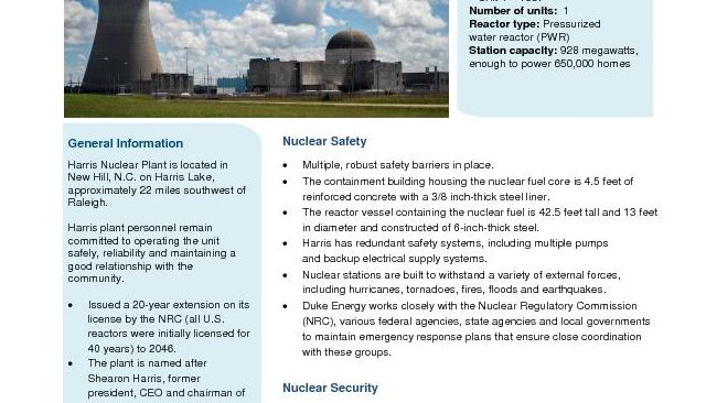Harris Nuclear Plant Fact Sheet