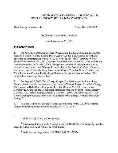 FERC Order New CW License 11 25 2015