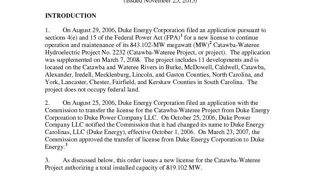 FERC Order New CW License 11 25 2015