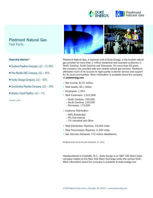 Piedmont Natural Gas Fast Facts