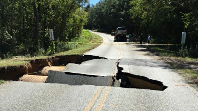A damaged road in Clinton, in eastern North Carolina.