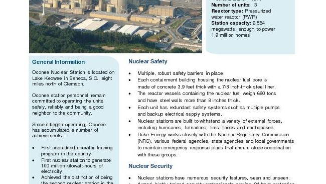 Oconee Nuclear Station Fact Sheet