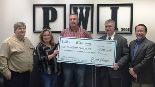 PaperWorks invests $3.5 million to maximize Wabash, Indiana plant efficiency; earns Duke Energy incentive