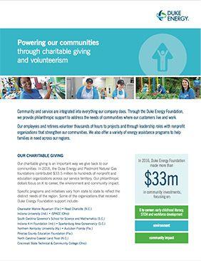 Duke Energy Foundation Fact Sheet 2017