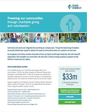 Duke Energy Foundation Fact Sheet 2017