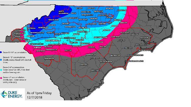 Duke Energy proyecta que la tormenta de invierno podría causar más de 500,000 cortes de suministro eléctrico