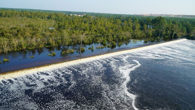 Rising Cape Fear River overtops cooling lake at Duke Energy's Sutton Plant