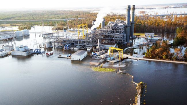 Cape Fear River flooding damages Sutton Lake, causes safe shutdown of natural gas plant