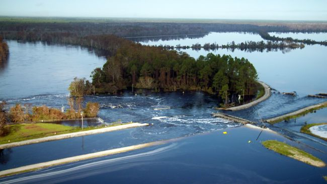Sutton cooling lake breach flows into Cape Fear River. Photo uploaded on Sept. 22, 2018.