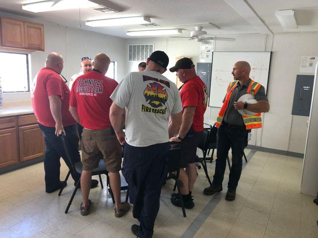 Duke Energy briefs first responders on repair plans. Photo uploaded on Sept. 23, 2018.