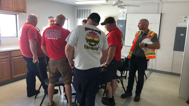 Duke Energy briefs first responders on repair plans. Photo uploaded on Sept. 23, 2018.