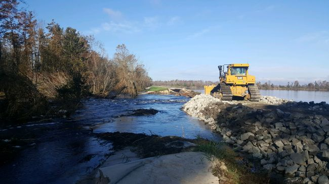 Work progressing successfully to repair the Sutton Lake dam. Photo uploaded Sept. 27, 2018.