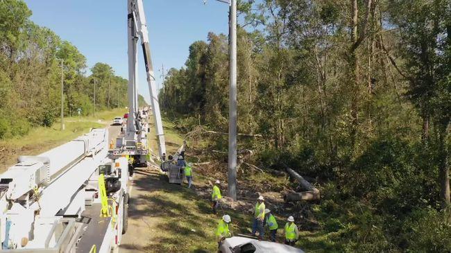 Hurricane Michael - Crews making repairs near Tallahassee, FL