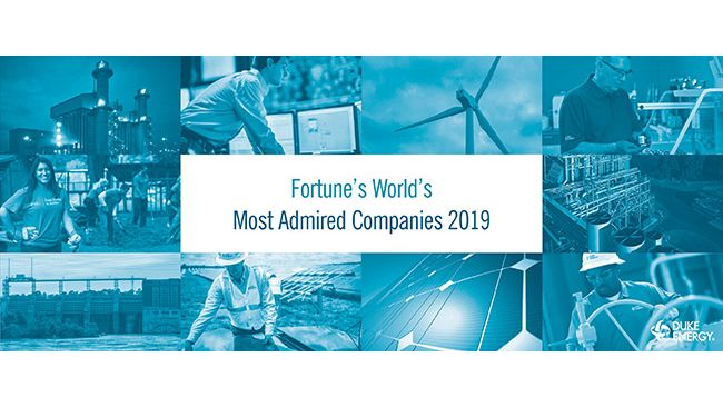 "Duke Energy named one of Fortune's ""World's Most Admired Companies"" for second consecutive year"