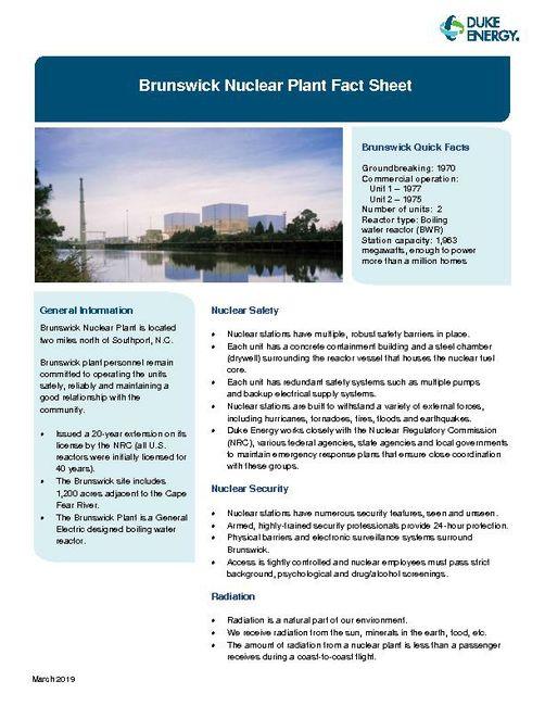 Brunswick Nuclear Plant Fact Sheet