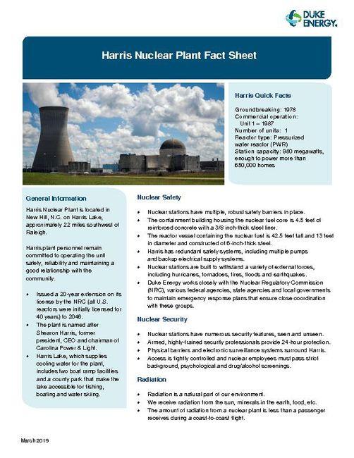 Harris Nuclear Plant Fact Sheet