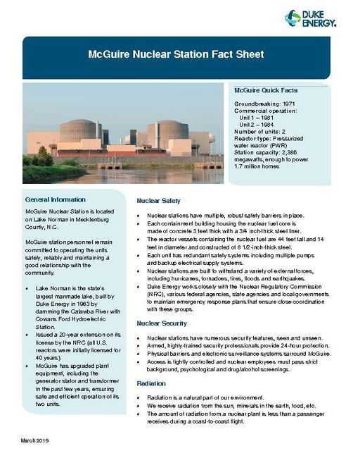 McGuire Nuclear Station Fact Sheet
