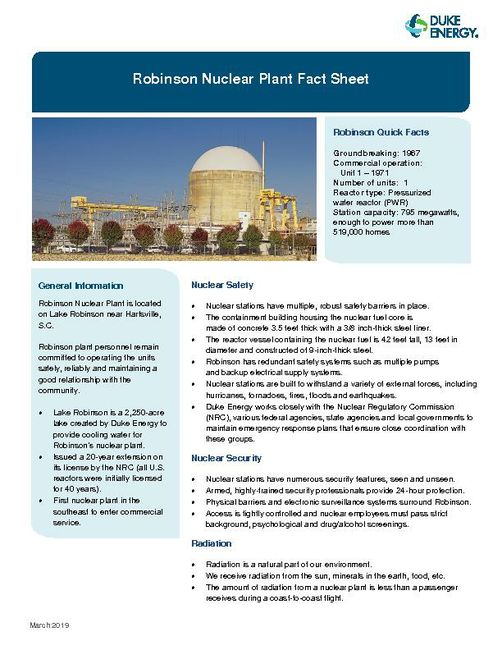 Robinson Nuclear Plant Fact Sheet