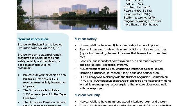 Brunswick Nuclear Plant Fact Sheet - 2019